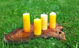 Kerzen gelb geringelt