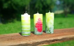 Kerzen mit verschiedenen Techniken